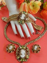 Object of Affection Hobe 1957 Cameo Necklace Bracelet Earrings Huge Set