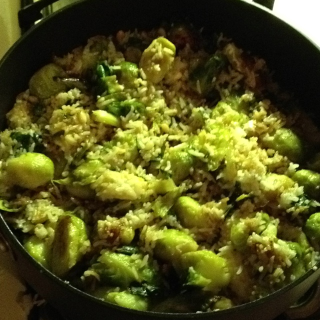 rice with brussel sproats, feta cheese, pine nuts