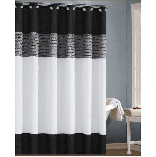 Stand Up Shower Curtain Black and Peach Shower Curtain