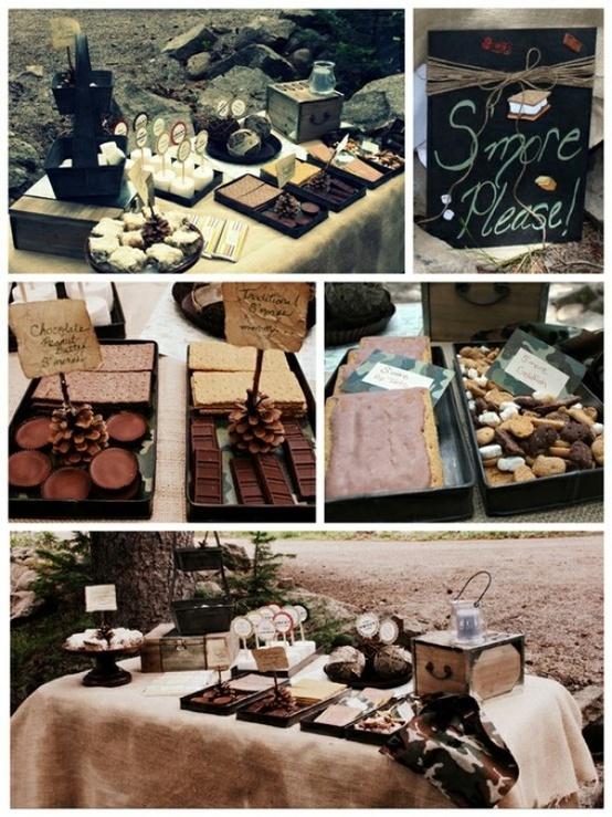 Backyard Bonfire Wedding : bonfire party Smore bar  Click image to find more Weddings