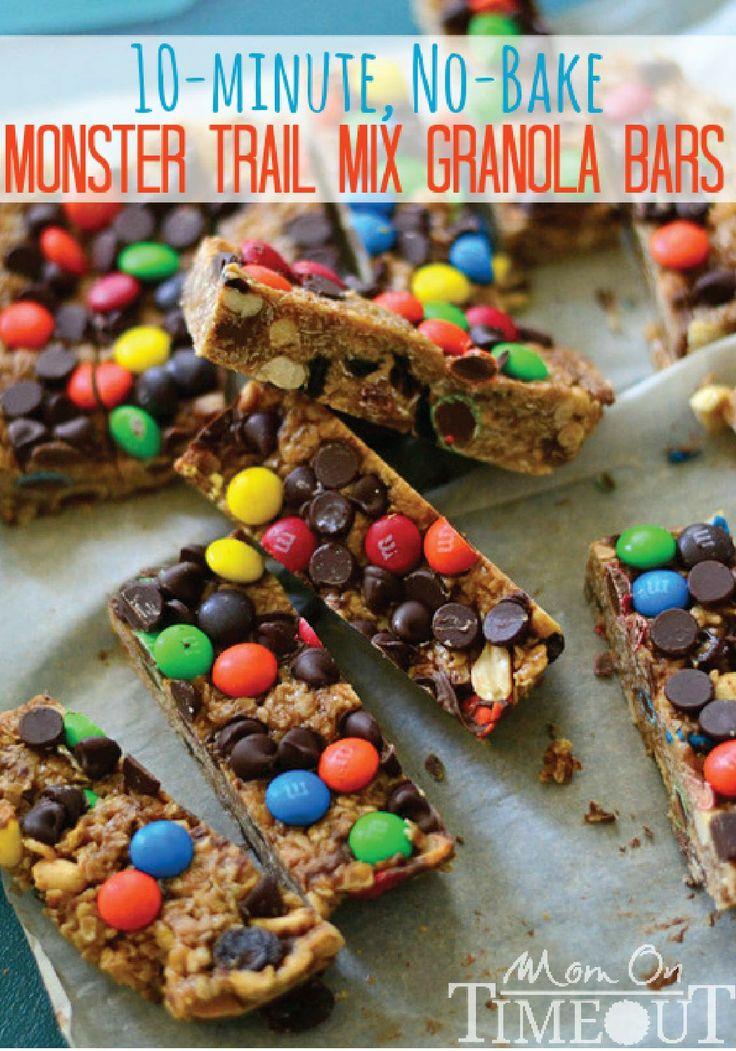 Monster Trail Mix Granola Bars -- A delicious, no-bake, homemade ...