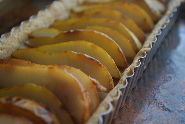 Dessert: Chocolate Pear Custard Tart with Almond Shortbread Crust ...