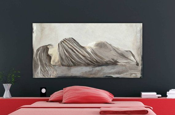 Very large figurative canvas art print sexy woman bedroom - Sensual paintings for the bedroom ...