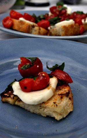 Garlic Tomato Crostini With Ricotta Recipe — Dishmaps
