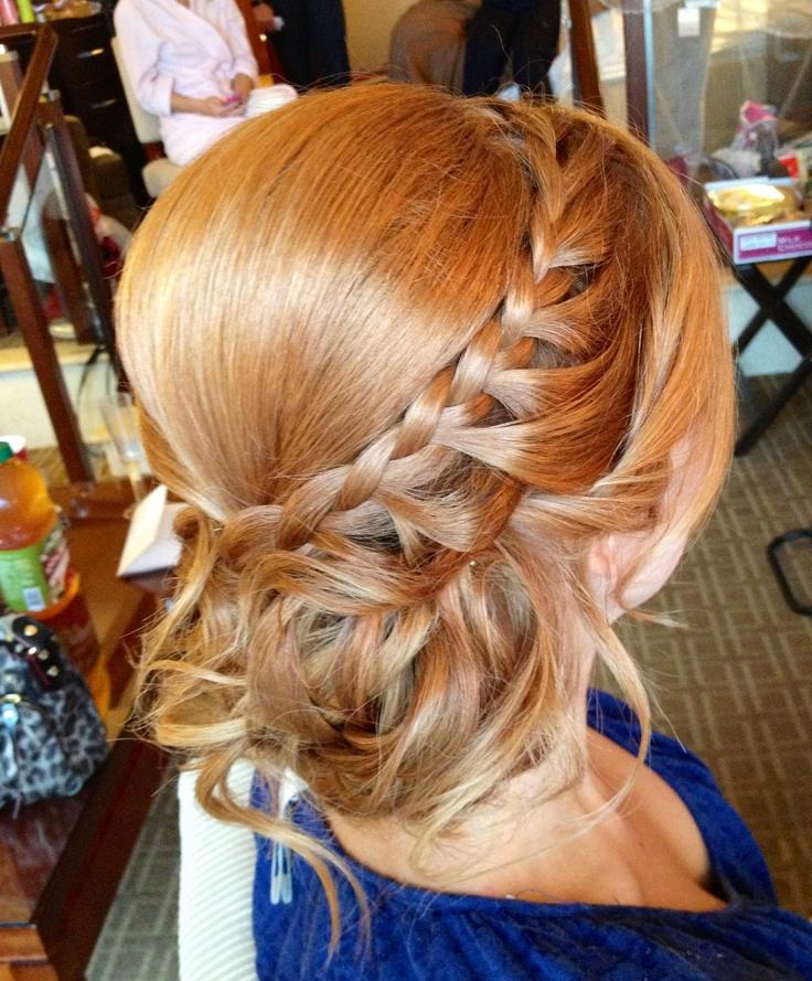 Prom hair side bun with braid