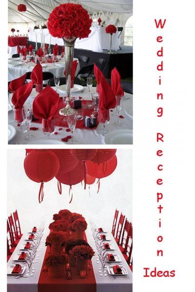 Red white wedding reception decorations : Red white wedding reception ideas or and black