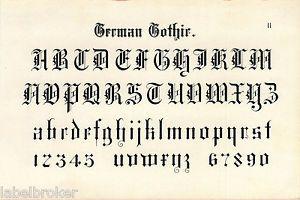 antique print vintage 1800s engraving typography lettering tattoo german gothic. Black Bedroom Furniture Sets. Home Design Ideas