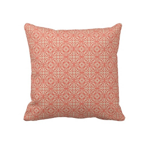 Coral and Cream Decorative Throw Pillow
