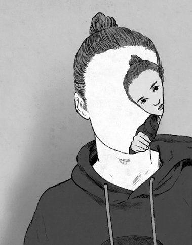 Shyness/cool self-portrait concept.