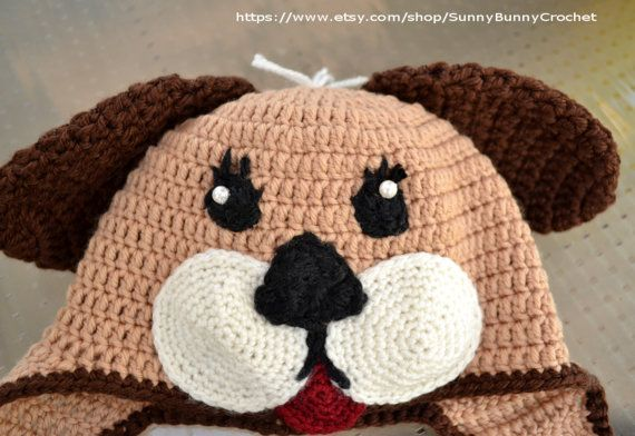 Crochet Pattern For Baby Dungarees : CROCHET HAT PATTERN, Animal Hat Pattern, Crochet Puppy Hat ...