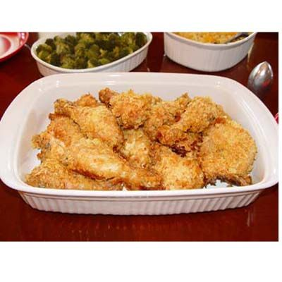 Southern Oven Fried Chicken - chicken battered in crushed potato chips ...