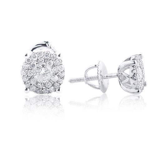 14K Gold Halo Round Stud Diamond Earrings 0 65ct Clusters