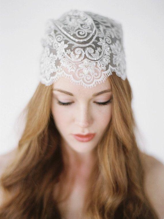 HUNTER Lace Wedding Cap, Vintage Inspired Bridal Cap