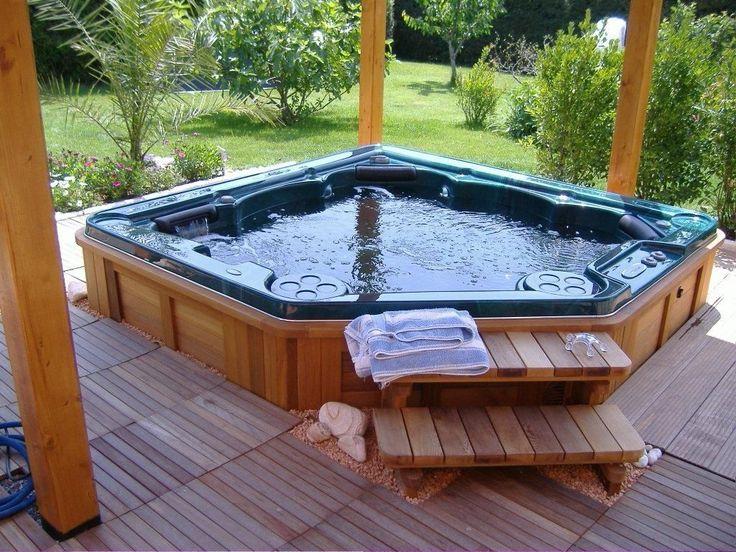 5 seater built in corner hot tub backyard pinterest