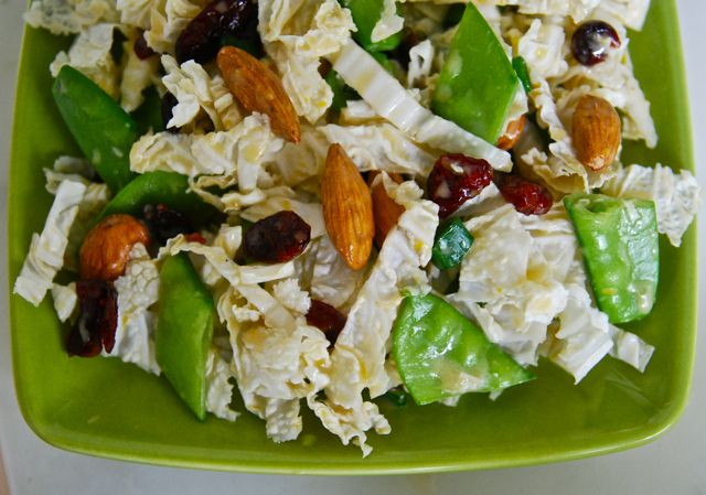 Winter Cole Slaw - uses Napa Cabbage almonds, dried cranberries