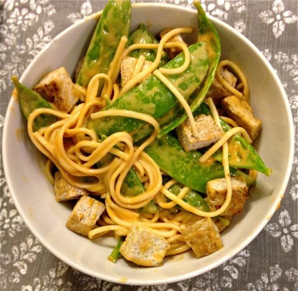Peanut Udon Noodles With Snow Peas Recipe — Dishmaps