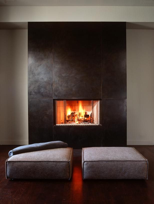 Minimalist Living Room With Fireplace.