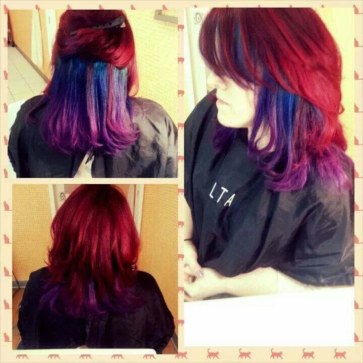 red hair with blue and purple ombre cute hair���� pinterest