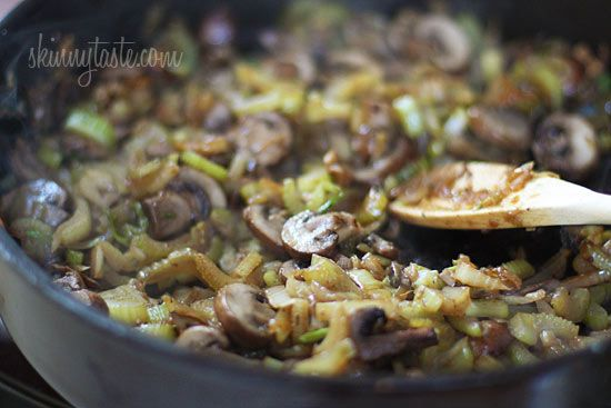 Chicken Sausage Brown Rice Stuffing with Celery and Mushrooms | Recipe