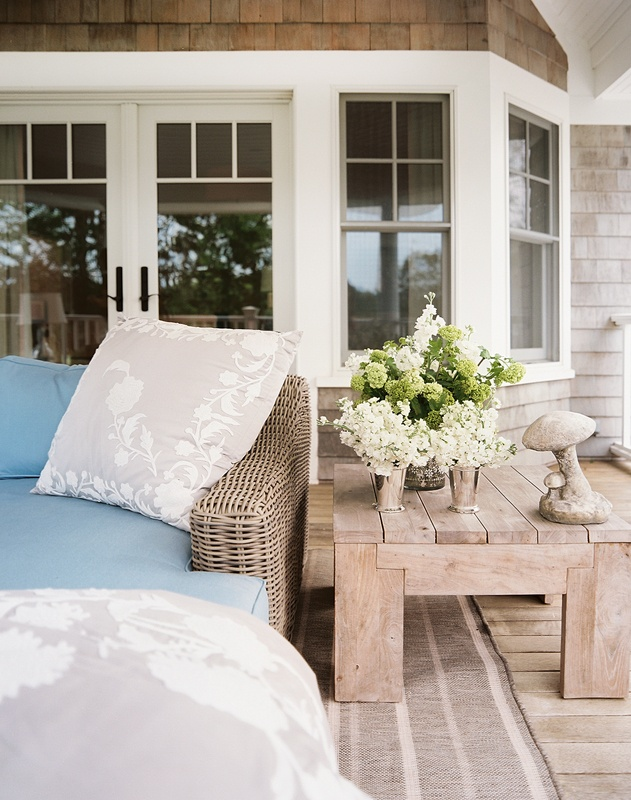 plush seating + rustic end table