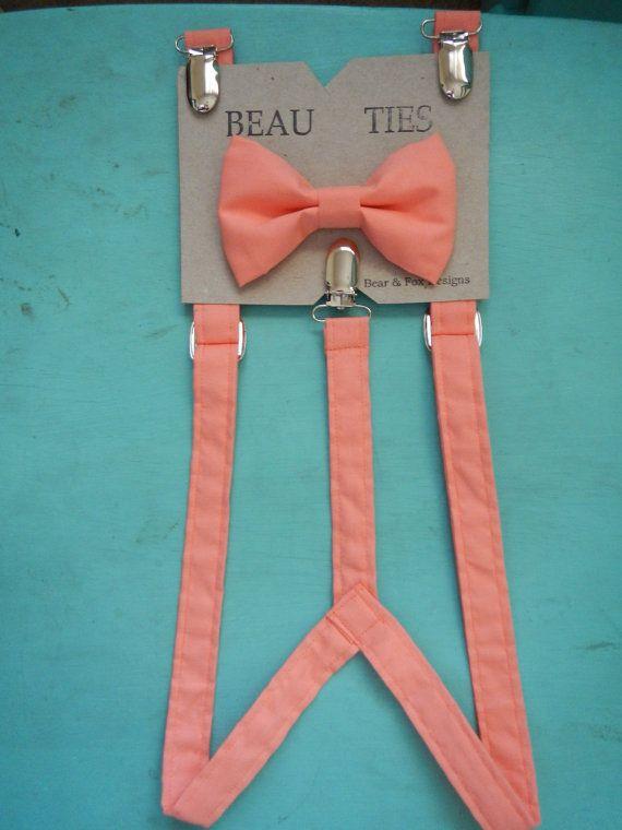 boys suspenders bow tie set coral