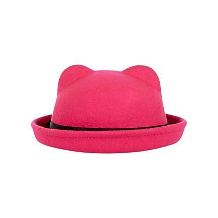 Girls pink cat ears bowler hat £8.00   Ruby   Pinterest