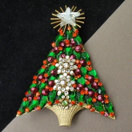 Christmas tree pin vintage xmas brooch stanley hagler nyc 4 quot tall rhi