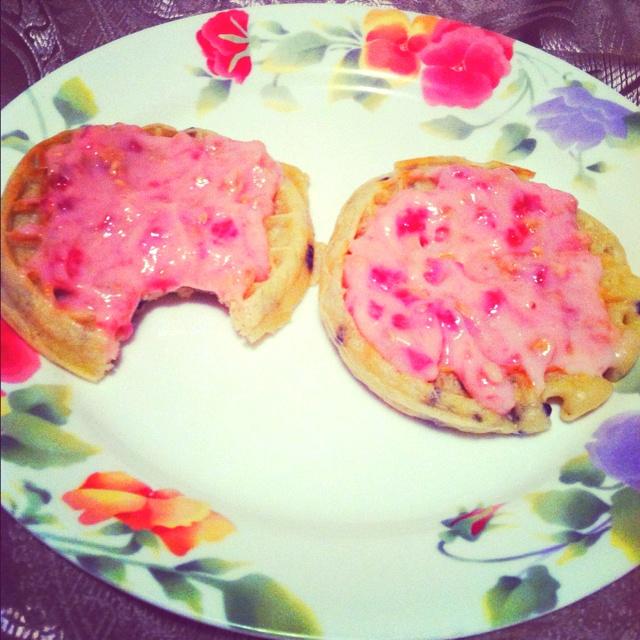Blueberry waffles with strawberry granola yogurt spread. Definite ...