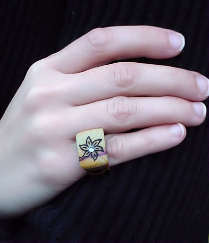 Wooden Ring Rustic Flower is Burned on it by hand GO...made with real tree branches, that have fallen down.  by coocoos, $30.00