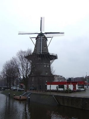 De Gooyer Windmill in Amsterdam is one of the 6 windmills that are still left in the city. It was moved to its current position in 1814 when barracks built in 1811 obstructed the wind.