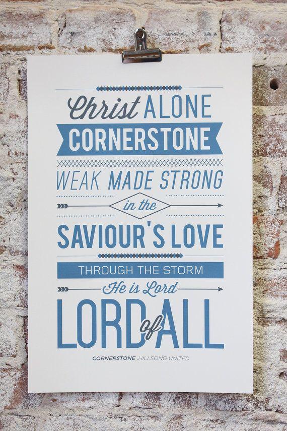 Vintage Typography Poster Print -  quot Cornerstone quot  by Hillsong United    Vintage Typography Poster