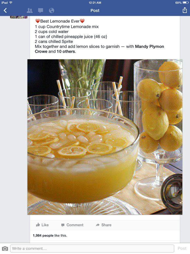 Best Lemonade Ever | Drinks and Liquid Gratification | Pinterest