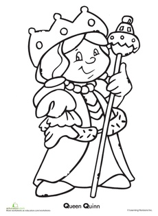q is for queen coloring page  Found on education.com