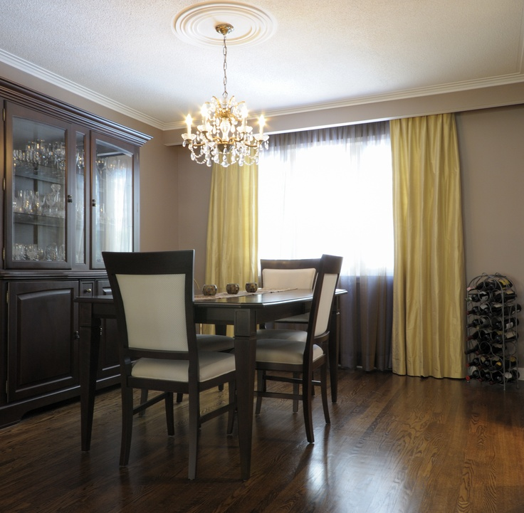 dining room using bright corn silk colored drapery and sheers