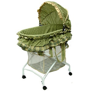 Dream on Me 2-in-1 Bassinet to Cradle, Green Plaid