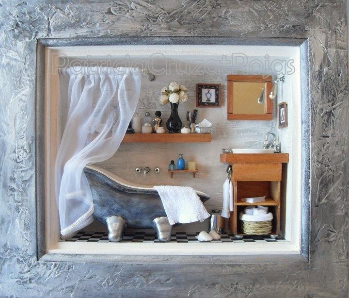 Baño Estilo Mediterraneo:Baño estilo Mediterraneo con miniaturas Hecho a pedido http
