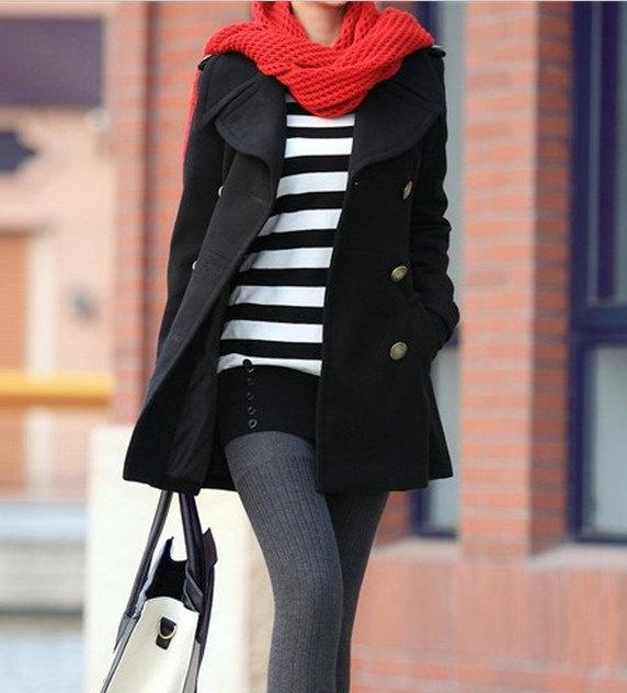 Women Black Wool coat double breasted button winter coat Hood cloak