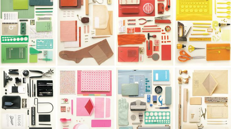 office supplies by color.
