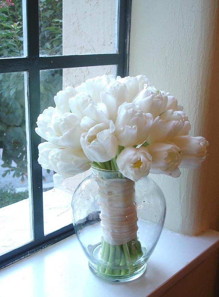 All White Tulip Bridal Bouquet