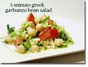 Minute Greek Garbanzo Bean Salad. Modified: use Spinach as a base ...