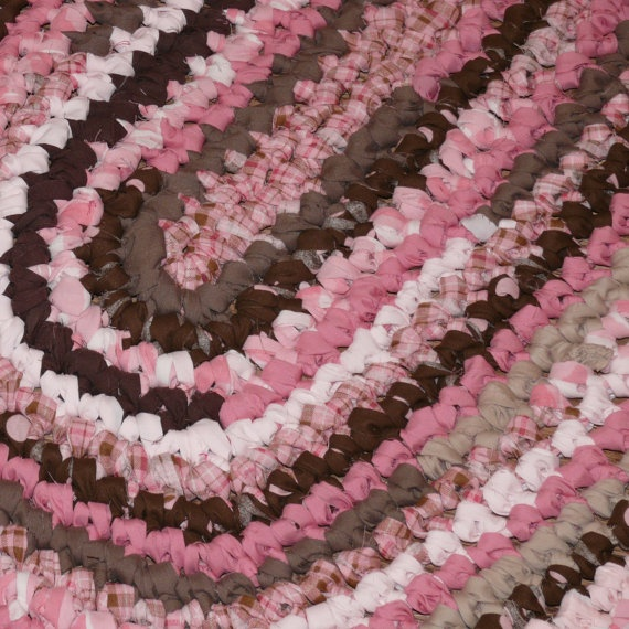Crocheted Oval Rag Rug -- Hot Cocoa and Pink