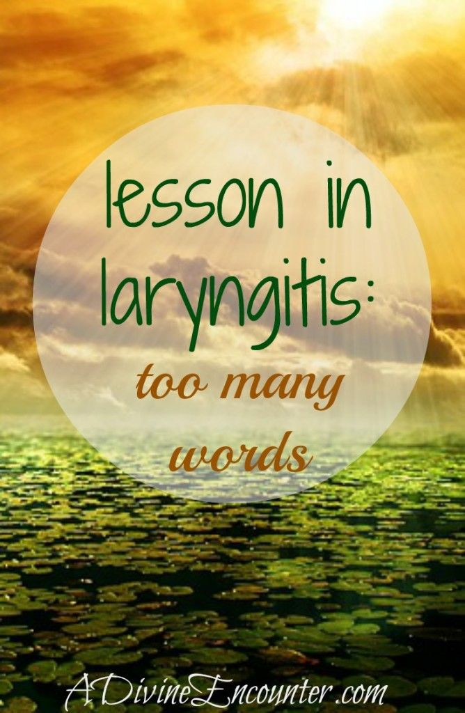 Eye-opening post about our words. (Matthew 12:36) http://adivineencounter.com/lesson-in-laryngitis