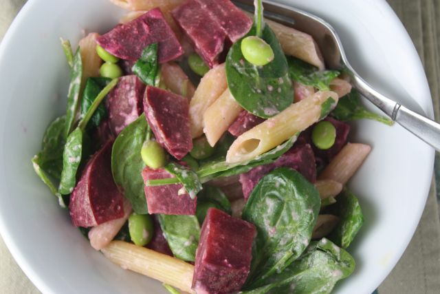 roasted beet and edamame pasta with creamy tahini sauce | Dishing Up ...