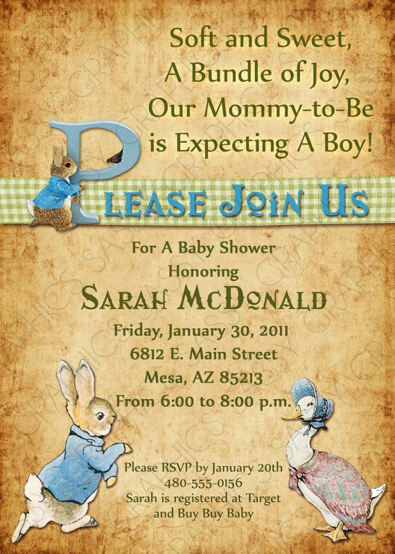 boy baby shower invitation peter rabbit theme vintage by sassygfx 13