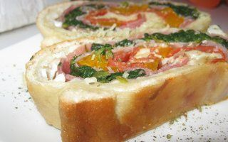 ... , proscuitto, salami, spinach, fire roasted sweet peppers and CHEESE