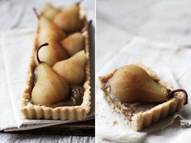 Riesling Poached Pear Tart with Chai Spiced Custard & Almond Crust