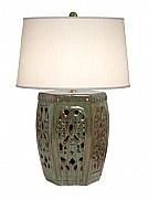 Hexagonal Garden Stool Lamp - look at this gorgeous glaze!