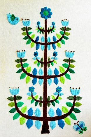 Tree of life embroidery possibly hungarian
