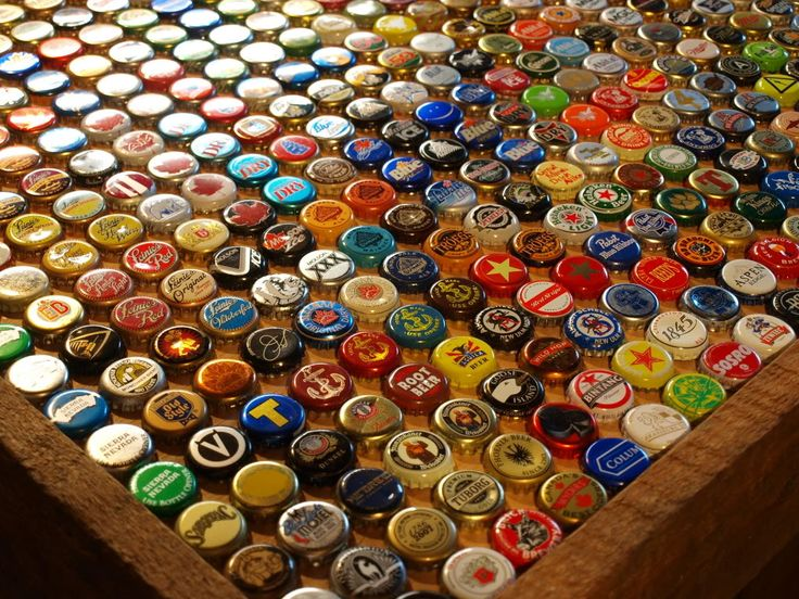 bottle cap table or bar top i saw a bar top like this