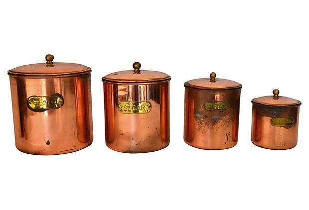 Copper Kitchen Canisters S 4